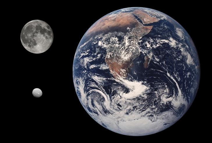 Сравнение размеров Цереры с Луной и Землёй