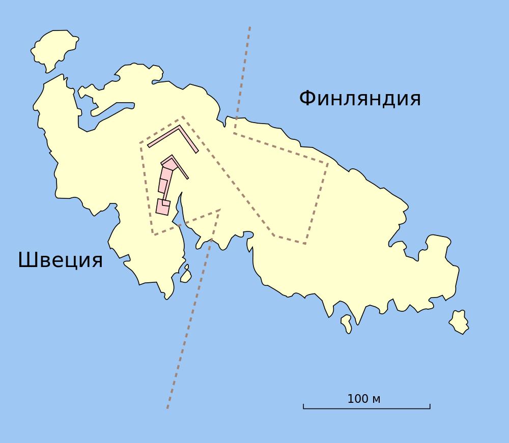 Карта острова с границей между ленами. Северо-западная часть острова относится к лену Уппсала, юго-западная — к лену Стокгольм