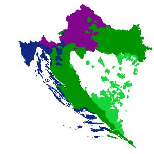 Хорватские диалекты на карте