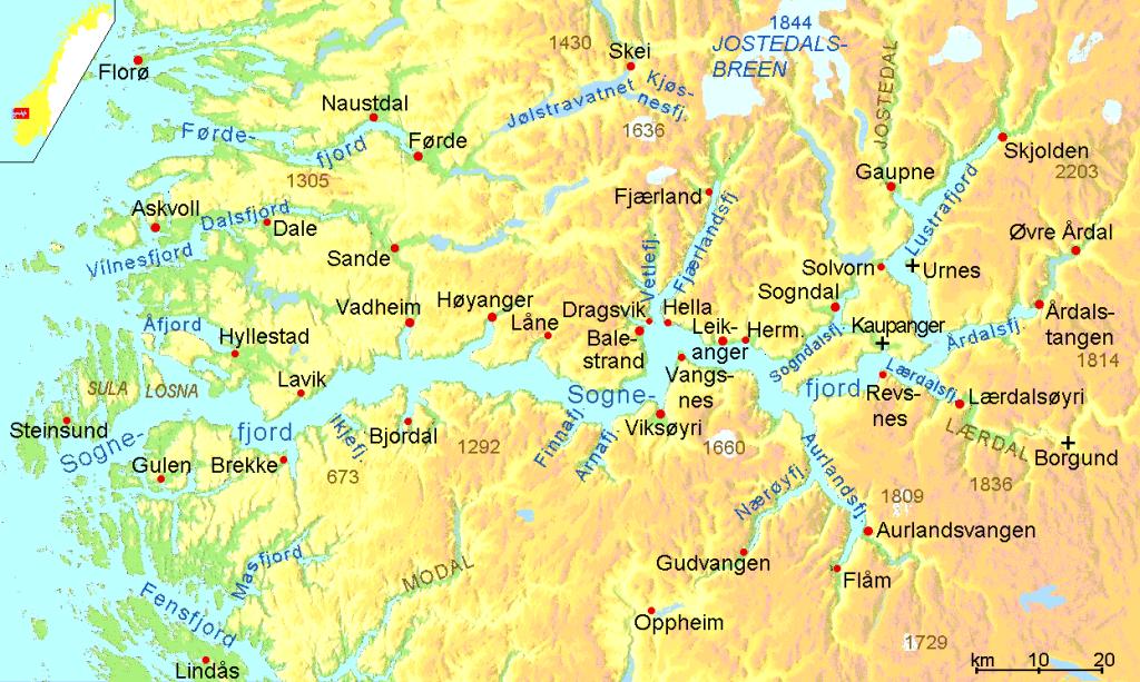 Карта Согне-фьорда с прилегающими к нему населеными пунктами