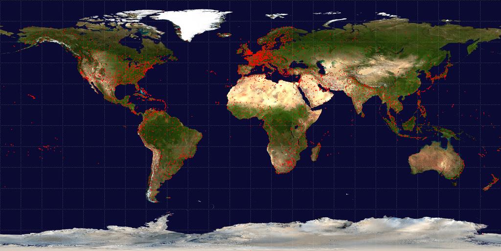 Распределение аэропортов по странам мира