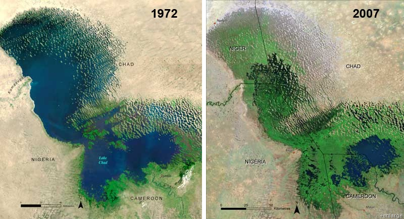 Снижение воды в озере Чад