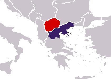 На карте красным цветом показана Северная Македония, а синим цветом провинция Греции