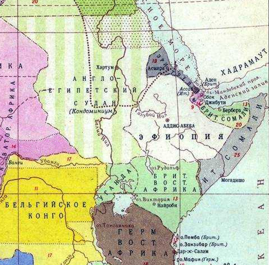 Карта колоний Восточной Африки