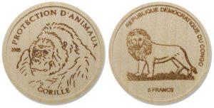 В 2005 году в Демократической Республике Конго была изготовлена первая деревянная монета