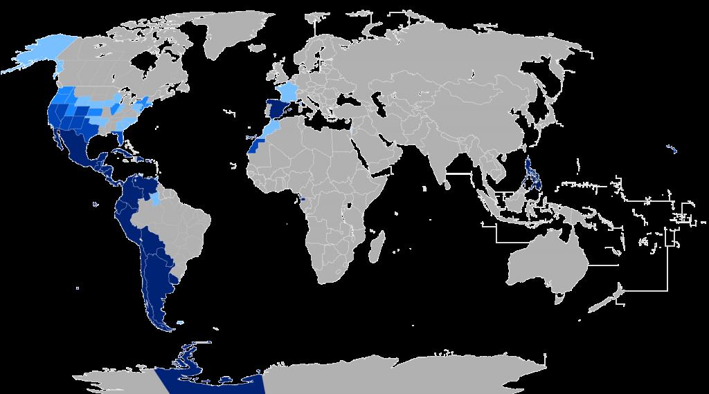 Карта распространённости испанского языка