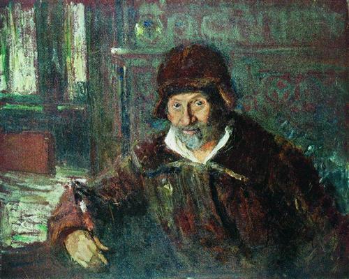 И. Е. Репин. «Автопортрет». Линолеум, масло. 1920. Музей-усадьба «Пенаты»