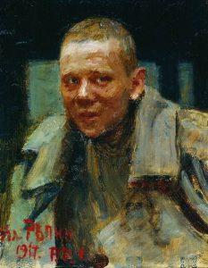 И. Е. Репин. Дезертир. 1917 Линолеум, масло. 43.5 x 31 см Витебский художественный музей