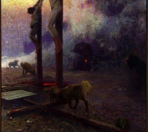 И. Е. Репин. (1844-1930) Голгофа, 1929. Линолеум, масло. Art Museum, Princeton University, NJ, USA
