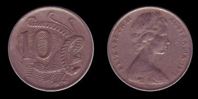Изображение Елизаветы II на аверсе монеты в 10 центов