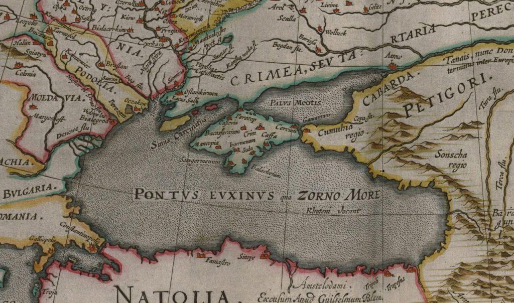 А так изображали на картах Азовское море в XVII веке
