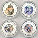 4 монеты номиналом в два доллара из серебра 999 пробы